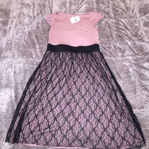 NWT lace elastic party babydoll mauve dress